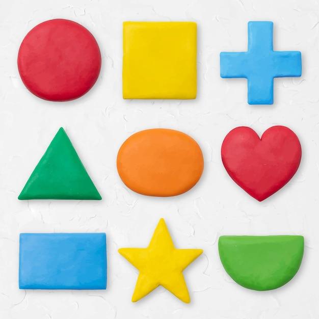 Formas geométricas de arcilla seca vector gráfico colorido para niños