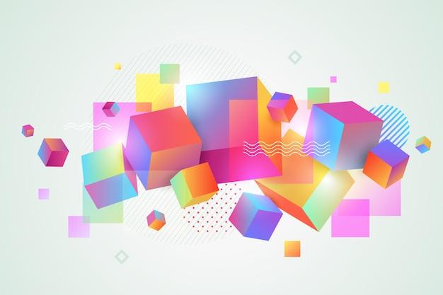 Formas geométricas en capas coloridas 3d para páginas de aterrizaje