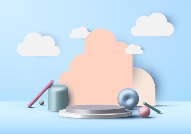 Formas geométricas de escena mínima abstracta realista 3d y pantalla de podio vacía con nubes en el cielo azul