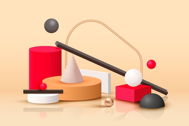 Formas geométricas en estilo realista.