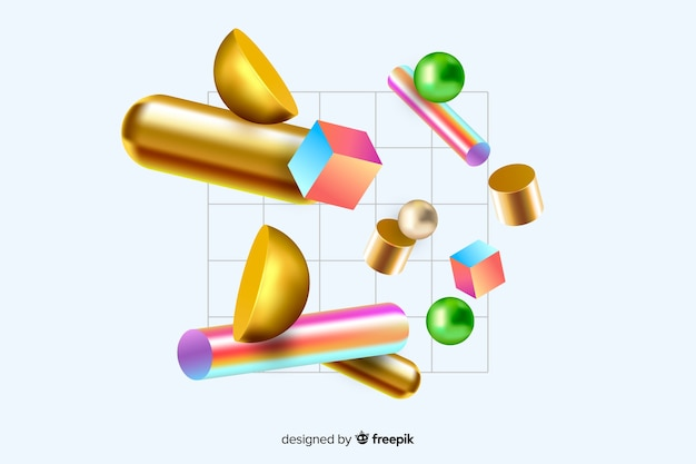 Formas geométricas flotando con efecto 3d