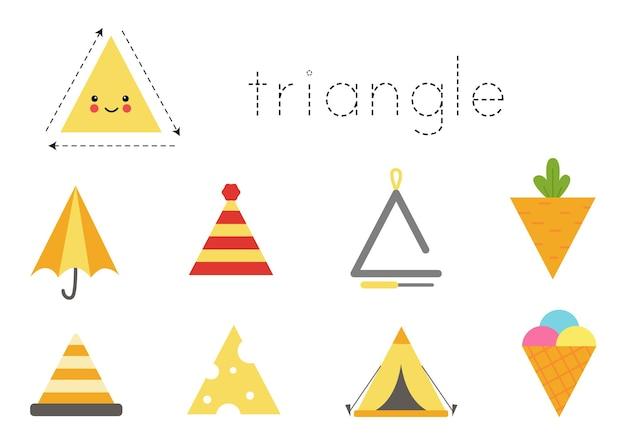 Formas geométricas para niños. hoja de trabajo para aprender formas. objetos triangulares.