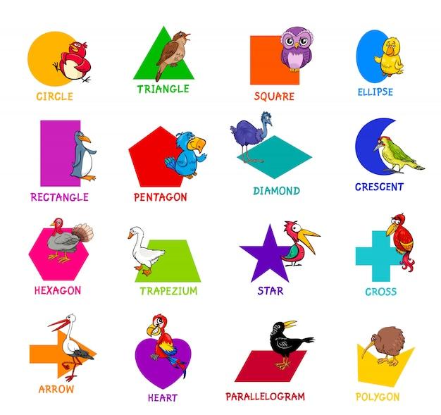 Formas geométricas con personajes animales de aves