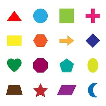 Formas geométricas planas básicas para actividades de libros de matemáticas para niños.
