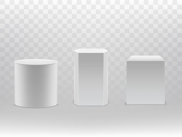 Formas geométricas realistas 3d aisladas en fondo transparente.