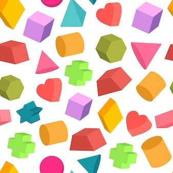 Formas geométricas vector patrón transparente de dibujos animados sobre un fondo blanco.