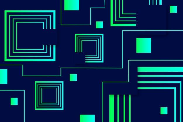 Formas geométricas verdes sobre fondo oscuro