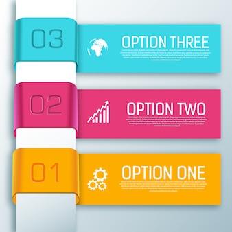 Formas horizontales de cinta de infografía con tres opciones de texto