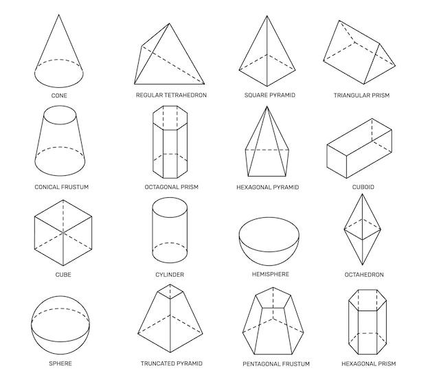 Formas isométricas de líneas formas geométricas simples para el aprendizaje escolar y el diseño de logotipos