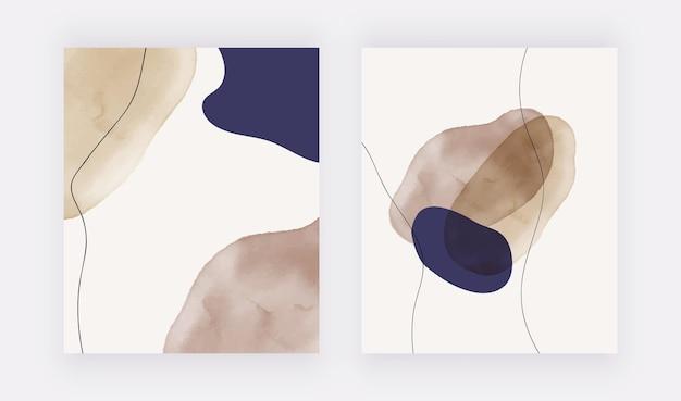 Formas y líneas de trazo de pincel azul y desnudo a mano alzada