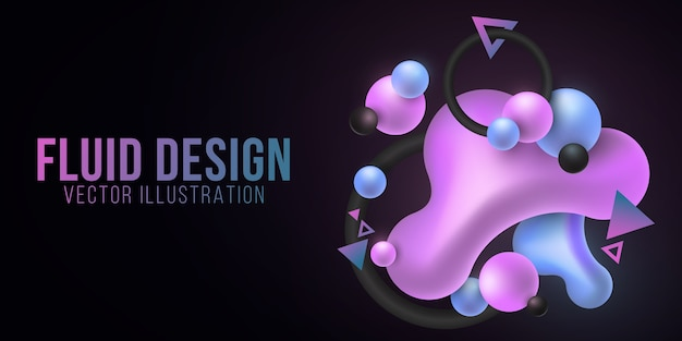 Formas luminiscentes de color púrpura y azul líquido sobre un fondo oscuro. concepto de formas de gradiente fluido. elementos geométricos de neón brillante. fondo futurista.