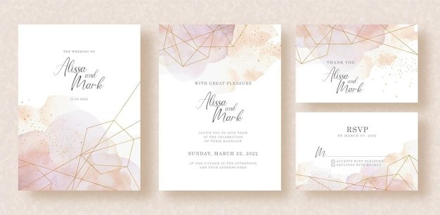Formas de oro de paragon con salpicaduras de acuarela en el diseño de invitación de boda