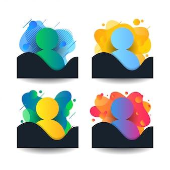 Formas de persona liquida en colores degradados.