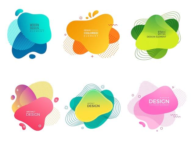 Formas de pintura abstracta. memphis de colores decorativos forma diferentes elementos para el vector de proyectos de logotipo