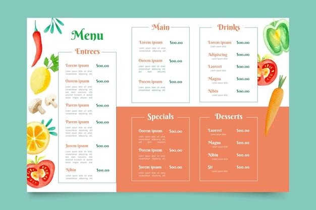 Formato horizontal de menú de restaurante digital