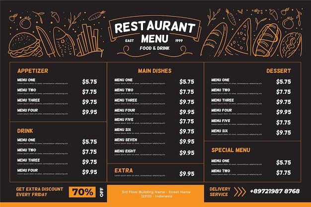 Formato horizontal del menú del restaurante