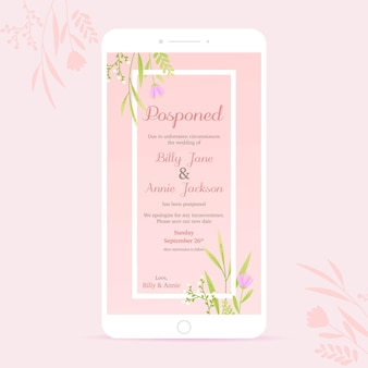 Formato de pantalla de teléfono inteligente de anuncio de boda pospuesto