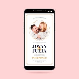 Formato de teléfono inteligente de anuncio de boda pospuesto