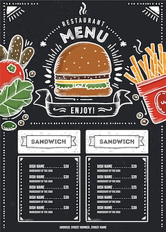 Formato vertical de menú de restaurante de comida rápida