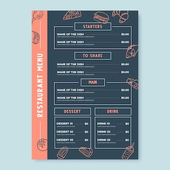 Formato vertical de menú de restaurante digital