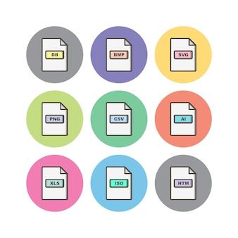 Formatos de archivo hoja de iconos aislado sobre fondo blanco.