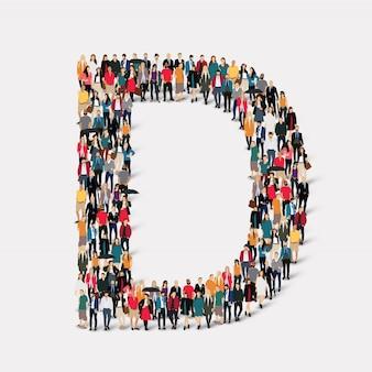 Formulario de carta de grupo de personas d. grupo de puntos de multitud que forma una forma predeterminada.