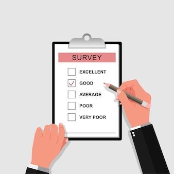 Formulario de encuesta con ilustración de lápiz. mano sosteniendo y llenando la lista de verificación en la ilustración del portapapeles de la hoja de papel.