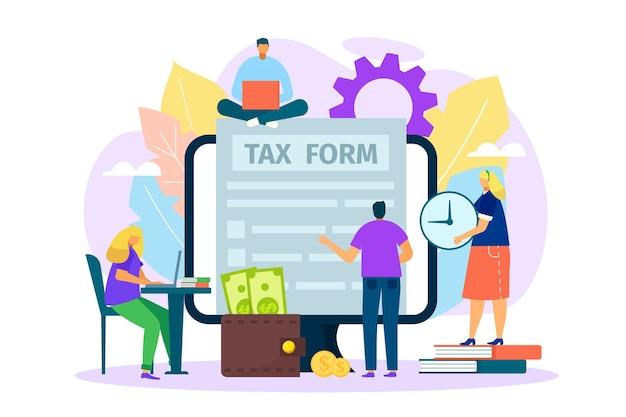 Formulario de impuestos en el documento en línea de la computadora sobre la ilustración de finanzas comerciales