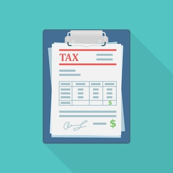 Formulario de impuestos en la ilustración del documento de papel del portapapeles