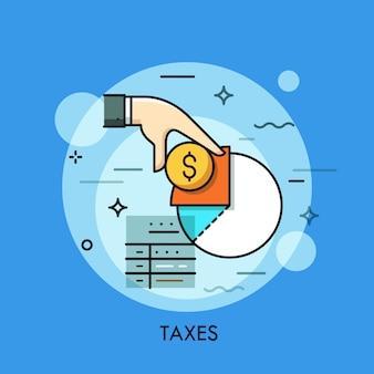 Formulario de impuestos, mano que sostiene la moneda del dólar y el diagrama de ingresos ilustración de línea delgada