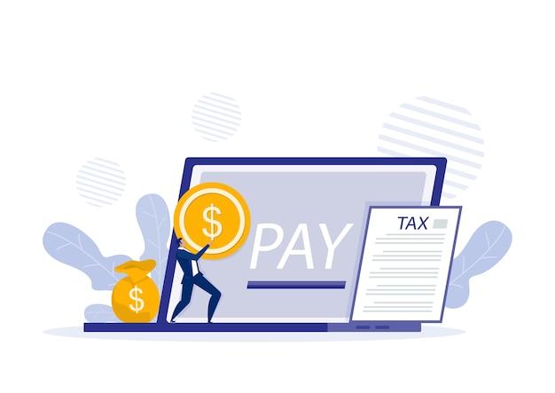 Formulario de impuestos con pago de facturas en línea en el portátil. ilustración de impuestos en línea