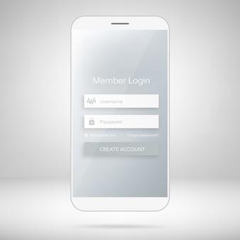 Formulario de inicio de sesión de miembros de la interfaz web móvil.