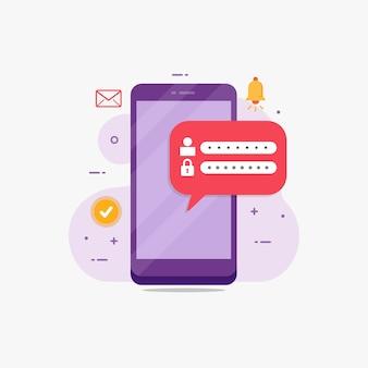Formulario de inicio de sesión en un teléfono inteligente para el registro en línea