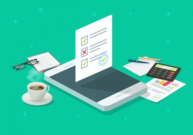 Formulario en línea de encuesta o informe de resultados de prueba de examen de prueba en teléfono móvil isométrico