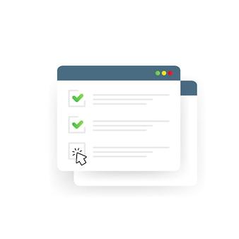 Formulario de lista de verificación en línea o informe en el sitio web o encuesta de internet web, lista de verificación del examen