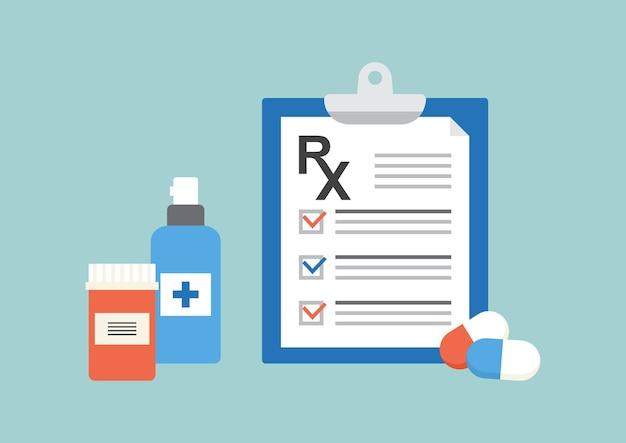 Formulario de prescripción de rx, documento médico en papel.
