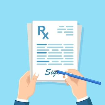 Formulario de prescripción rx en mano. documento clínico. doctor firmar lista de medicamentos, pastillas