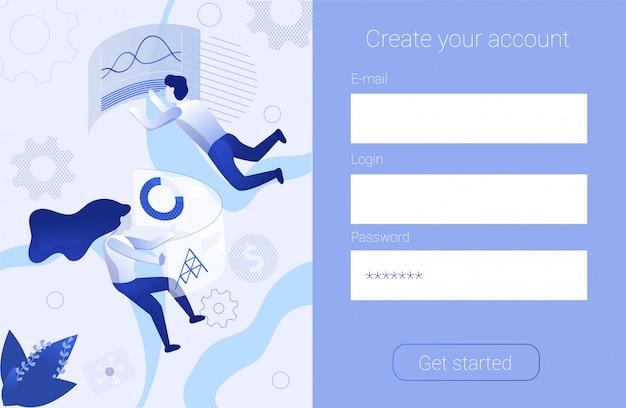 Formulario de registro crear cuenta promoción banner