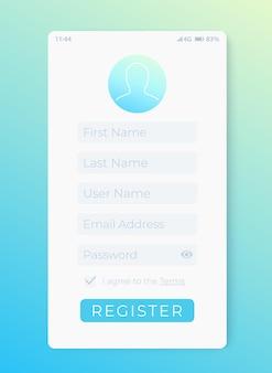 Formulario de registro, interfaz móvil