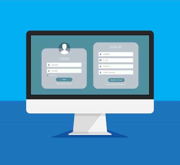Formulario de registro y página de formulario de inicio de sesión en una pantalla de monitor. plantilla para su diseño. concepto de interfaz de usuario web.