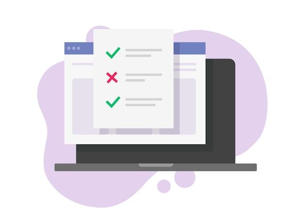 Formulario de resultado del examen de prueba en línea con respuestas, marcas de verificación, opciones, caricatura plana