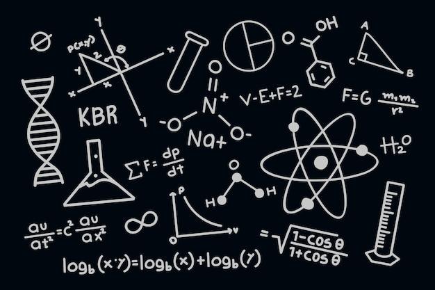 Fórmulas científicas dibujadas a mano en papel tapiz de pizarra