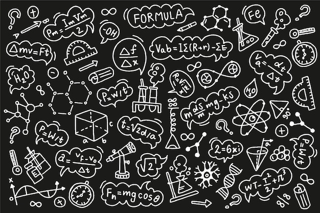 Fórmulas científicas dibujadas a mano en pizarra