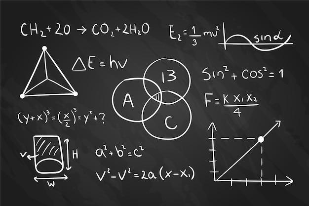 Fórmulas científicas de diseño dibujado a mano.