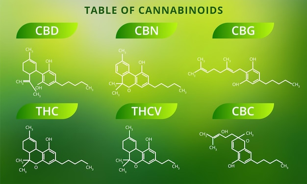 Fórmulas químicas de cannabinoides naturales.