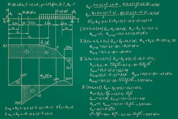 Fórmulas de resistencia de materiales dibujadas a mano en la pizarra verde para el fondo. ilustración.