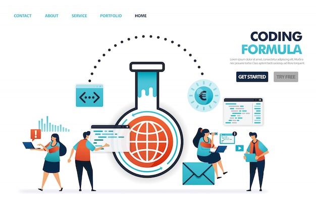 Fórmulas en software y aplicaciones de codificación y programación, avances en la industria de la tecnología de internet.