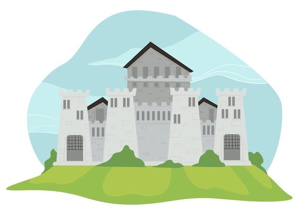 Fortaleza o castillo de piedra, fortificación y gruesos muros y torres. reino de reina y rey, arquitectura de cuentos de hadas. turismo en la parte histórica de la ciudad. edificio antiguo. vector en plano