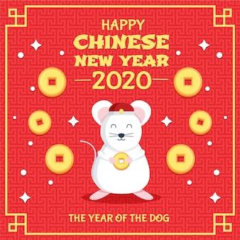 Fortuna monedas y ratón año nuevo chino