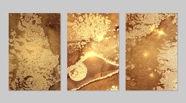 Fortuna textura dorada y marrón de geoda y destellos técnica de tinta de alcohol pintura moderna con purpurina